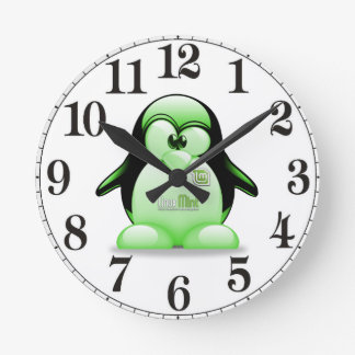 Linux Mint with Tux Logo Round Clock