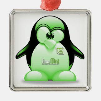 Linux Mint with Tux Logo Square Metal Christmas Ornament