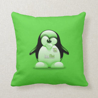 Linux Mint with Tux Logo Throw Pillow