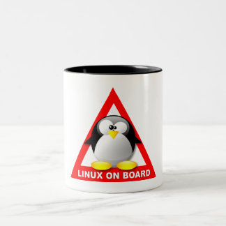LINUX ON BOARD Two-Tone COFFEE MUG