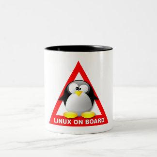 LINUX ON BOARD Two-Tone COFFEE MUG
