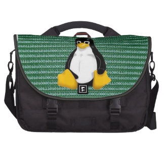 Linux Penguin on Binary Background Commuter Bag