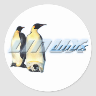 Linux Penguins Round Stickers
