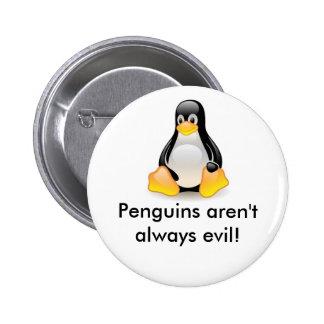Linux-pingüino-Tux Pin Redondo De 2 Pulgadas