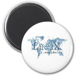 Linux por todo el mundo imán redondo 5 cm