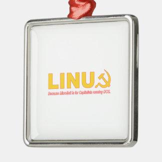 Linux porque Microsoft está para los capitalistas Adorno Navideño Cuadrado De Metal