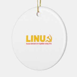 Linux porque Microsoft está para los capitalistas Adorno Navideño Redondo De Cerámica