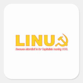 Linux porque Microsoft está para los capitalistas Pegatina Cuadradas Personalizadas