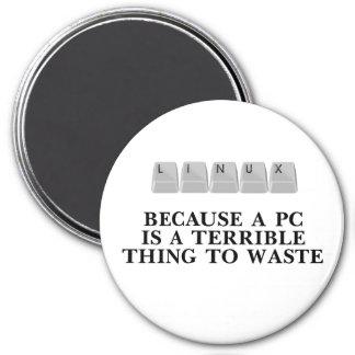 Linux, porque una PC es una cosa terrible a perder Imán Redondo 7 Cm