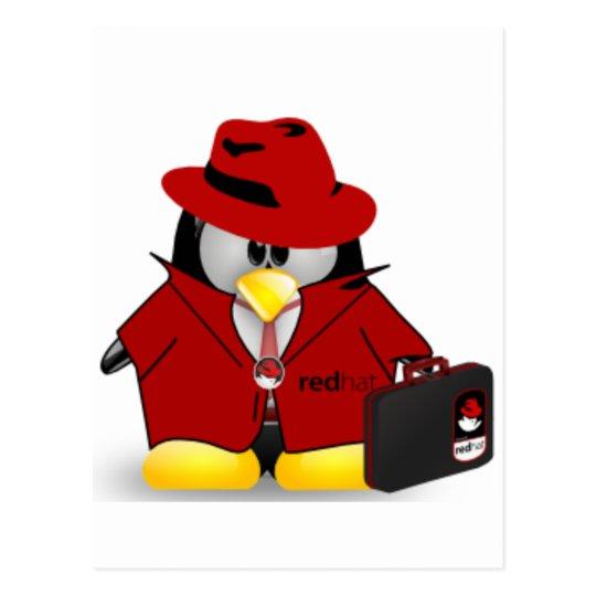 Linux Red Hat Tux Postcard