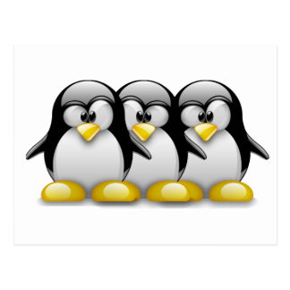 LINUX TUX BROTHERS POST CARDS