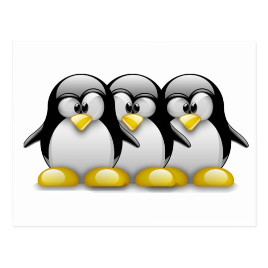 LINUX TUX BROTHERS POSTCARD