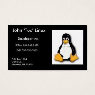 Linux business cards templates zazzle linux tux business card reheart Images