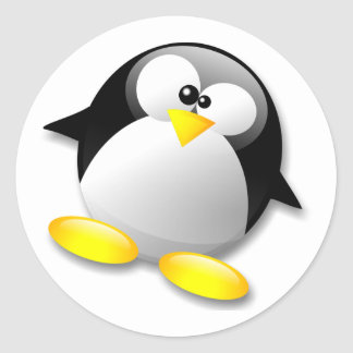 LINUX TUX CRYSTAL CLASSIC ROUND STICKER