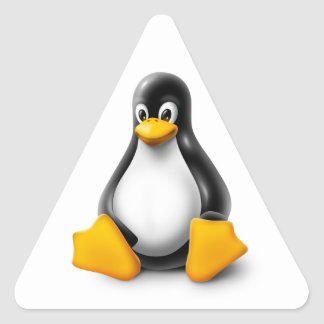 Linux Tux el pingüino Pegatina De Triangulo