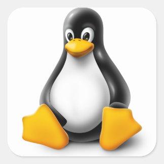 Linux Tux el pingüino Pegatina Cuadrada