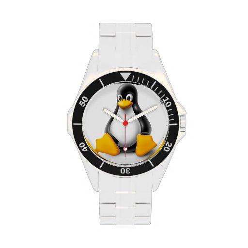 Linux Tux el reloj del pingüino