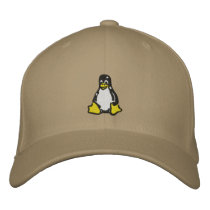 Linux Tux Embroidered Baseball Cap