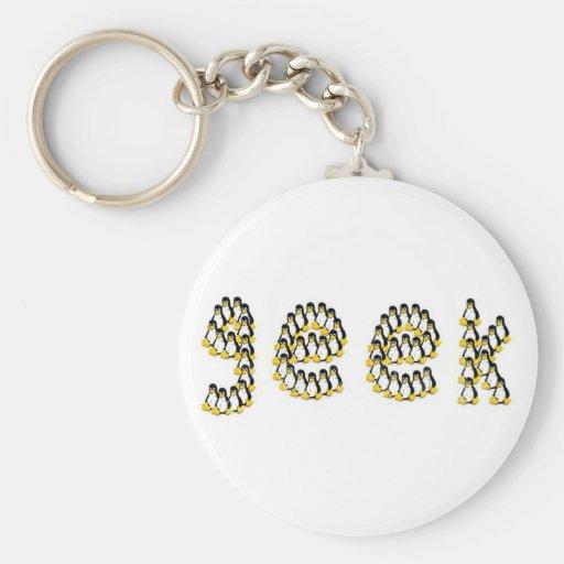 Linux Tux Geek Basic Round Button Keychain