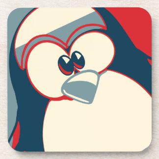 Linux Tux Obama poster red blue Drink Coaster