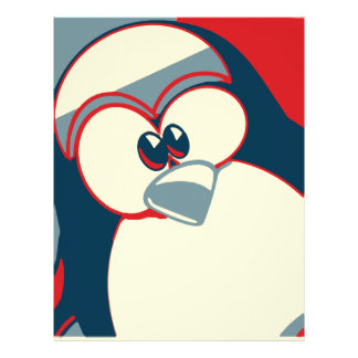 Linux Tux Obama poster red blue Letterhead