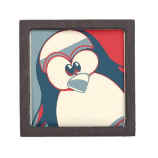 Linux Tux Obama poster red blue Premium Keepsake Box
