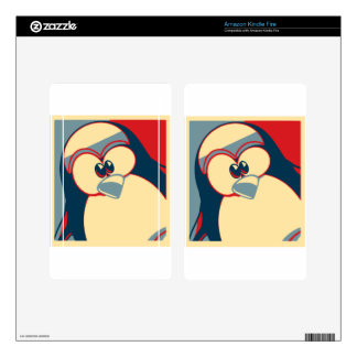 Linux Tux Obama poster red blue Skin For Kindle Fire