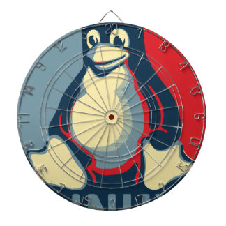 Linux tux penguin classic obama poster dartboard with darts