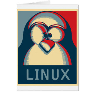 Linux tux penguin obama poster logo greeting card