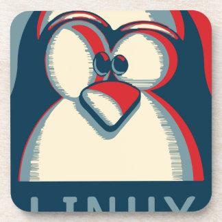 Linux tux penguin obama poster logo coaster