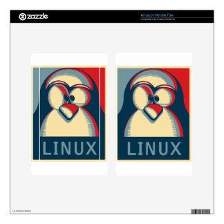Linux tux penguin obama poster logo kindle fire skins
