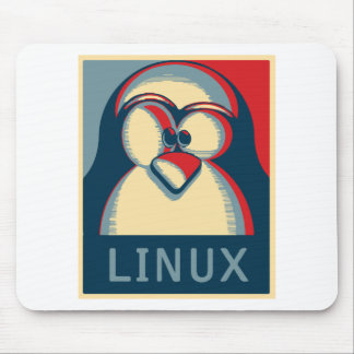 Linux tux penguin obama poster logo mouse pad
