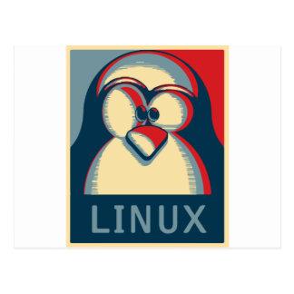Linux tux penguin obama poster logo postcard