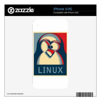 Linux tux penguin obama poster logo skins for iPhone 4S