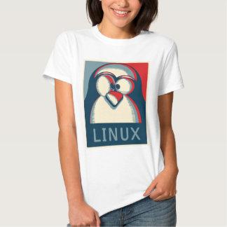 Linux tux penguin obama poster logo tee shirt