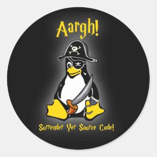 Linux Tux Penguin Pirate Sticker Black Ubuntu, etc