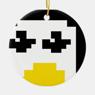 LINUX TUX PENGUIN PIXEL FACE CERAMIC ORNAMENT