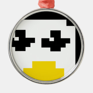 LINUX TUX PENGUIN PIXEL FACE METAL ORNAMENT