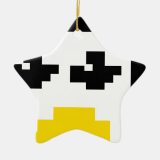 LINUX TUX PENGUIN PIXEL FACE Double-Sided STAR CERAMIC CHRISTMAS ORNAMENT