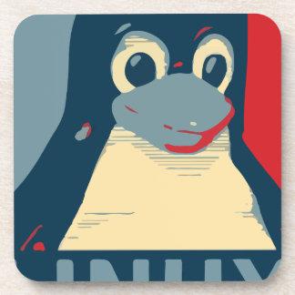 Linux Tux penguin poster head red blue Beverage Coaster