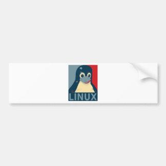 Linux Tux penguin poster head red blue Bumper Sticker