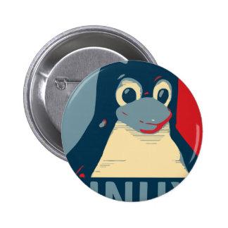 Linux Tux penguin poster head red blue Button