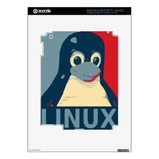 Linux Tux penguin poster head red blue Decals For iPad 3
