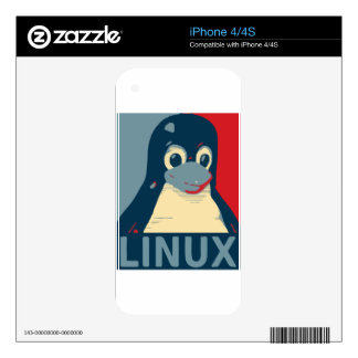Linux Tux penguin poster head red blue iPhone 4S Skins