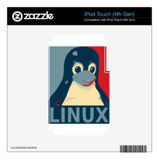 Linux Tux penguin poster head red blue iPod Touch 4G Decals