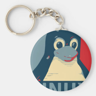 Linux Tux penguin poster head red blue Keychain