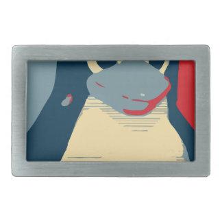 Linux Tux penguin poster head red blue Rectangular Belt Buckle