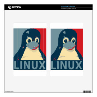 Linux Tux penguin poster head red blue Skin For Kindle Fire