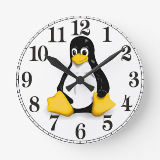Linux Tux Products Round Wall Clock