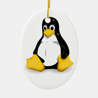 Linux Tux Products Double-Sided Oval Ceramic Christmas Ornament